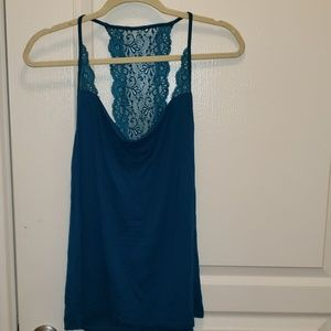 Teal Express Swoop neck top